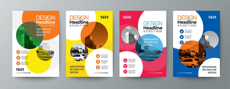 Kolekcja nowożytnego projekta ulotki broszurki pokrywy plakatowy układ t ilustracji