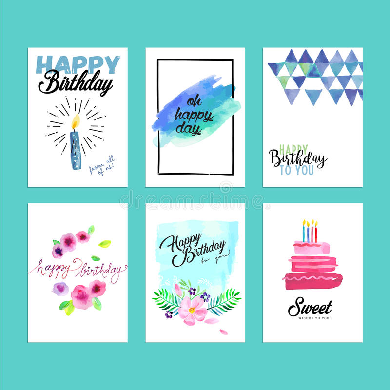 Kolekcja nowożytnego projekta urodziny kartka z pozdrowieniami ilustracja wektor