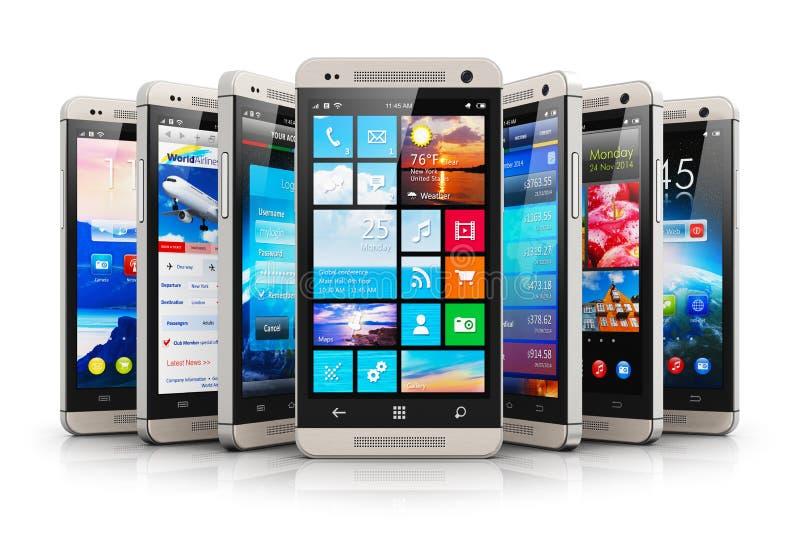 Kolekcja nowożytni ekranów sensorowych smartphones ilustracja wektor