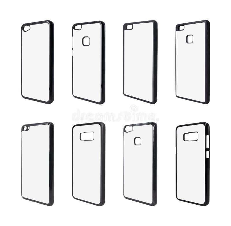 Kolekcja odizolowywająca na białym tle telefon skrzynka Smartphone pokrywa dla twój projekta Mobilni akcesoria ?cinek ?cie?ek prz obraz stock