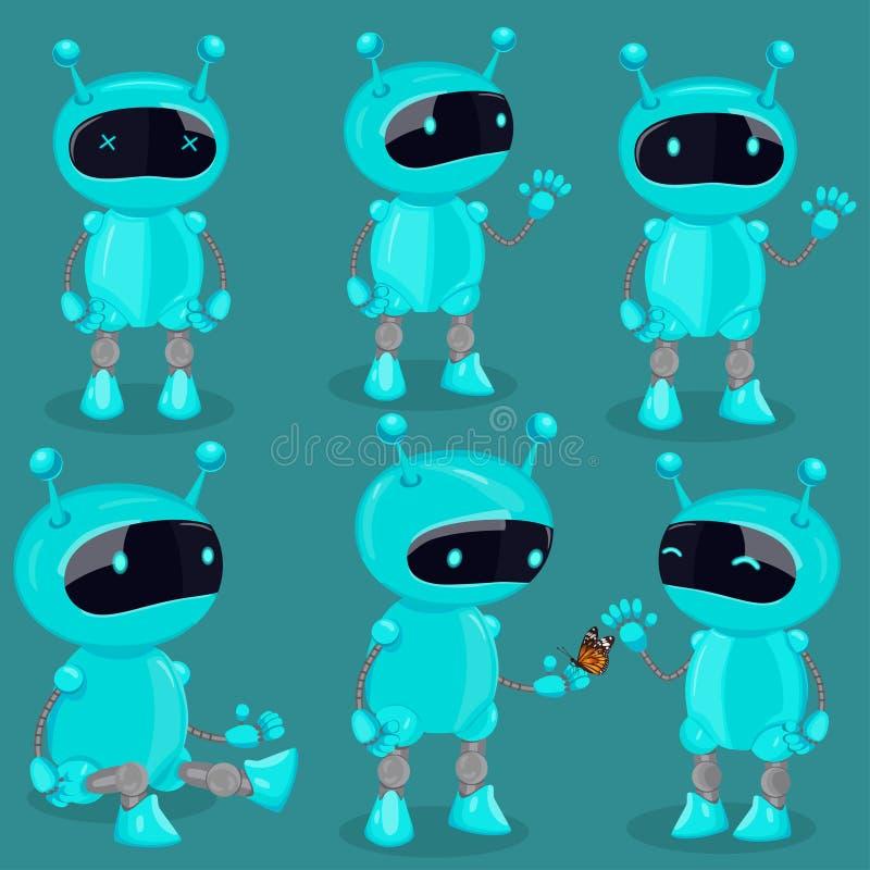 Kolekcja odizolowywający robot w kreskówka stylu Błękitni śliczni wektorowi roboty royalty ilustracja