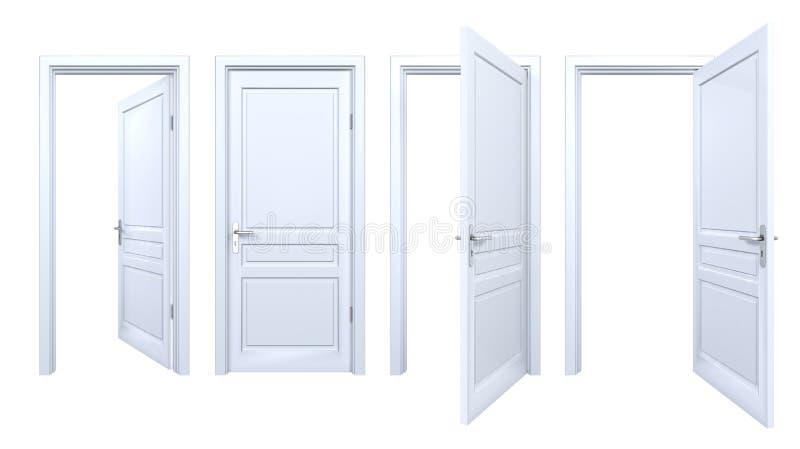 Kolekcja odosobneni biali drzwi obraz stock