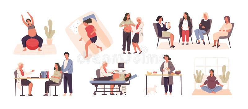 Kolekcja odwiedza lekarkę lub lekarza kobieta w ciąży, wykonujący joga lub gimnastycznego ćwiczenie, kucharstwo, śpi ilustracji