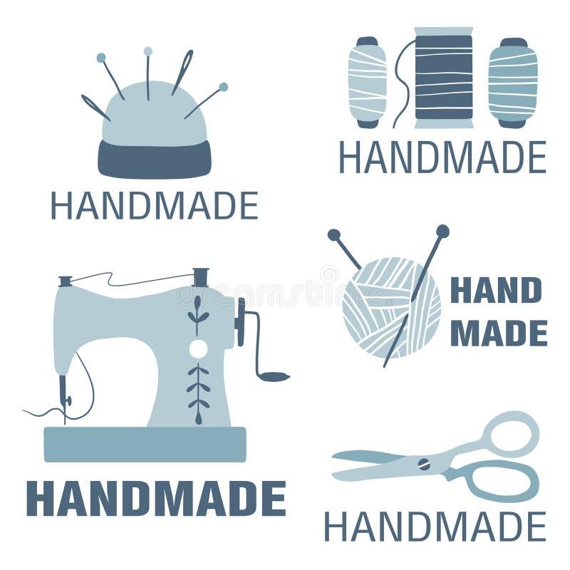 Kolekcja odznaki, etykietki i logo elementy dla szwalnego sklepu handmade, dzianina klub ilustracja wektor
