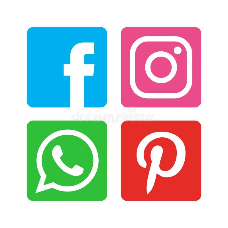 Kolekcja ogólnospołeczne medialne ikony drukować na białym papierze ilustracja wektor