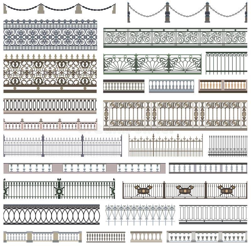 Kolekcja ogrodzenie wzory i dekoracyjni projektów elementy z bezszwowymi granicami royalty ilustracja