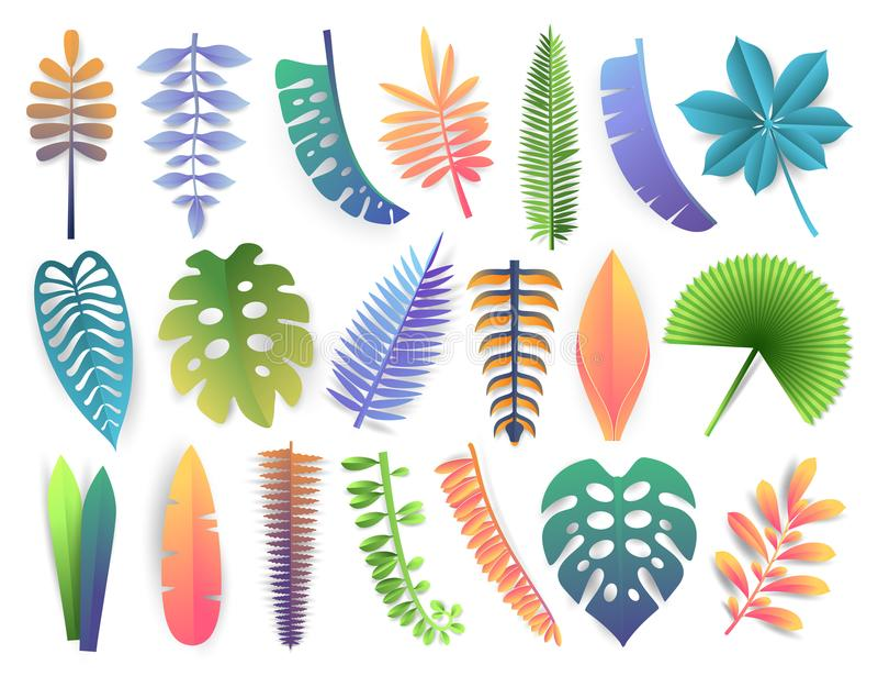 kolekcja opuszczać tropikalny Modnego lata egzotyczne palmy, monstera, filodendron, kalatea, paproć, orchidea, banan, koks ilustracji