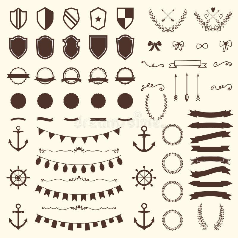 Kolekcja osłony, odznaki i etykietki, spokojnie redaguje projekt elementów wektora ilustracja wektor