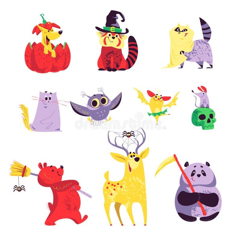 Kolekcja płascy wektorowi Halloween śmieszni zwierzęta odizolowywający na białym tle ilustracja wektor
