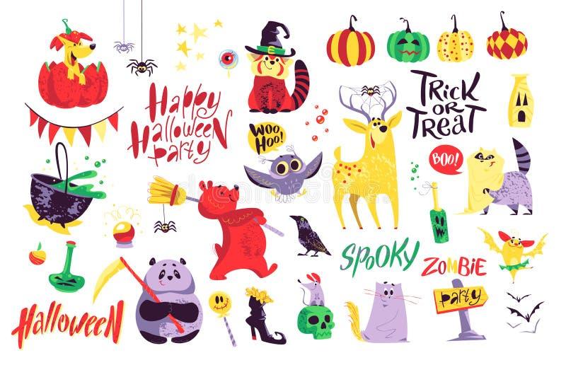 Kolekcja płascy wektorowi Halloween dekoraci tradycyjni elementy na białym tle ilustracja wektor