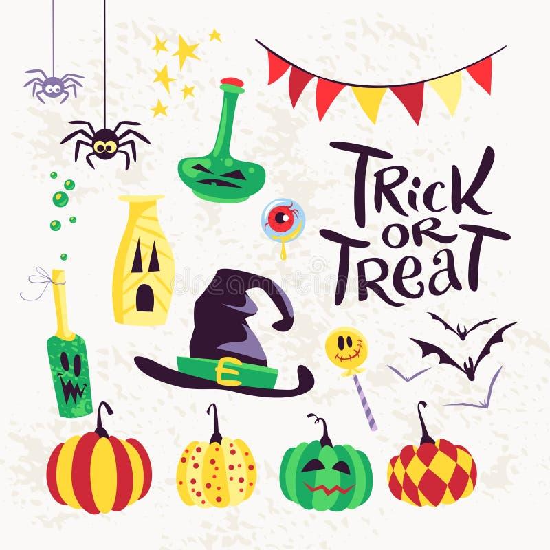 Kolekcja płascy wektorowi Halloween dekoraci tradycyjni elementy na białym tle royalty ilustracja