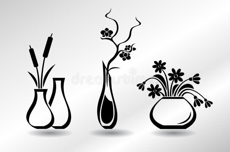 Kolekcja płaskie ikon wazy z kwiatami: orchidea, śnieżyczki, sitowie ilustracja wektor