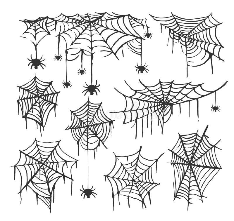 Kolekcja pajęczyny odosobniony przejrzysty tło Spiderweb dla Halloweenowego projekta Pająk sieci elementy straszni i ilustracja wektor
