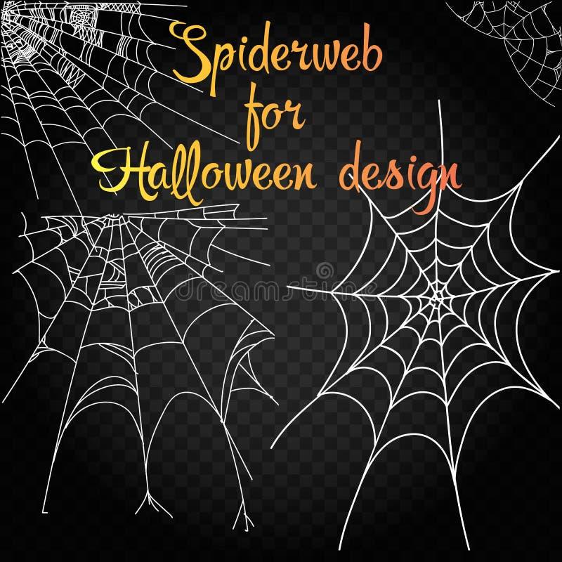Kolekcja pajęczyna, odizolowywająca na czarnym, przejrzystym tle, Spiderweb dla Halloweenowego projekta Pająk sieci elementy stra ilustracja wektor