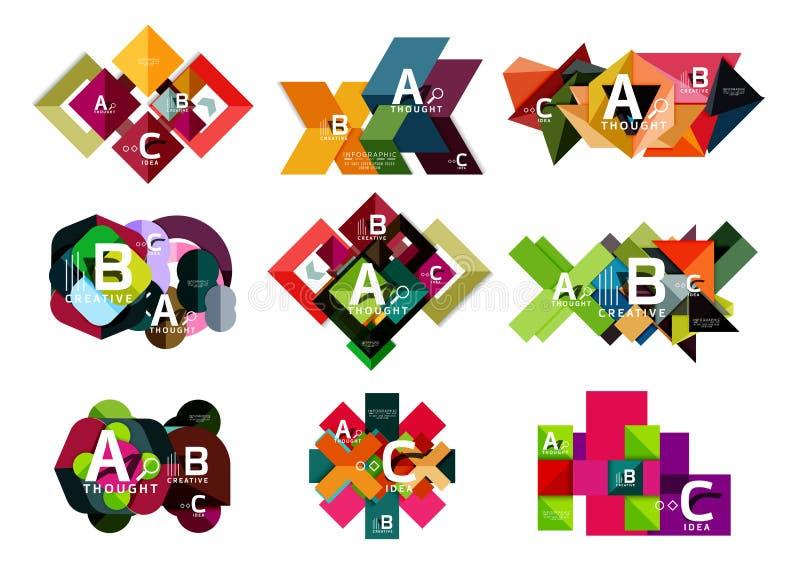 Kolekcja papierowy geometryczny infographics, b c procesu opcje, prezentacja układy ilustracji