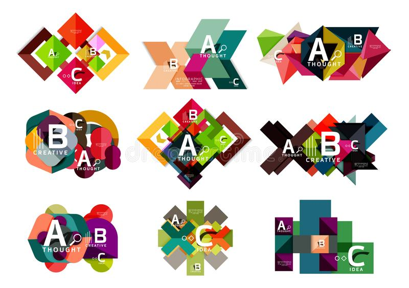 Kolekcja papierowy geometryczny infographics, b c procesu opcje, prezentacja układy ilustracja wektor