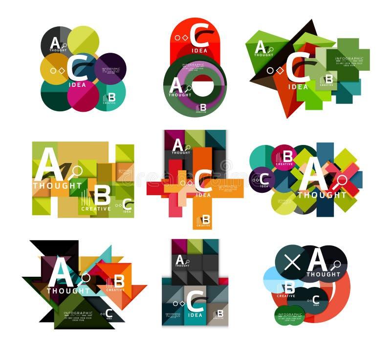Kolekcja papierowy geometryczny infographics, b c procesu opcje, prezentacja układy royalty ilustracja