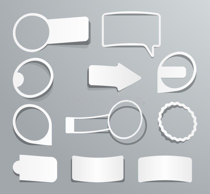 Kolekcja papieru etykietki w postaci majcherów cztery elementy projektu tła snowfiake białego ilustracji
