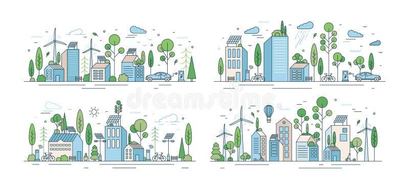 Kolekcja pejzaże miejscy lub miastowi krajobrazy z eco miastem używa ecologically życzliwe technologie - siła wiatru, słoneczna ilustracja wektor