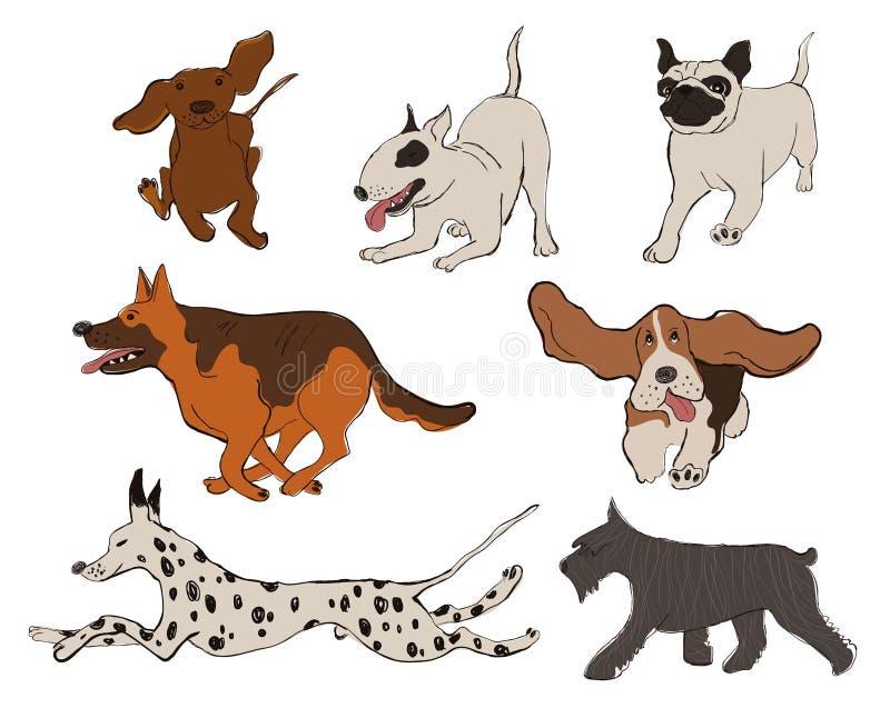 Kolekcja pies Hoduje ikony ilustracji