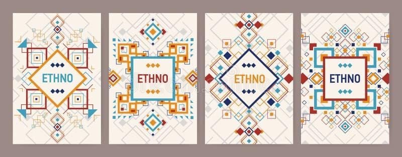 Kolekcja pionowo tła z tradycyjnym azteka ornamentem lub dekoracyjną granicą Plik ulotka lub pocztówka royalty ilustracja