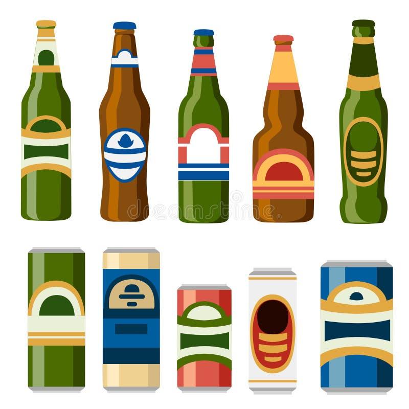 Kolekcja piwne puszki i butelki szablonu mieszkania ikona napojów alkoholowych tła cogwheel ilustraci odosobniony biel ilustracji