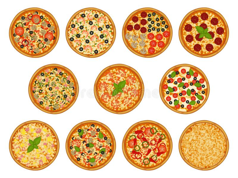 Kolekcja pizza z różnorodnymi składnikami ilustracja wektor