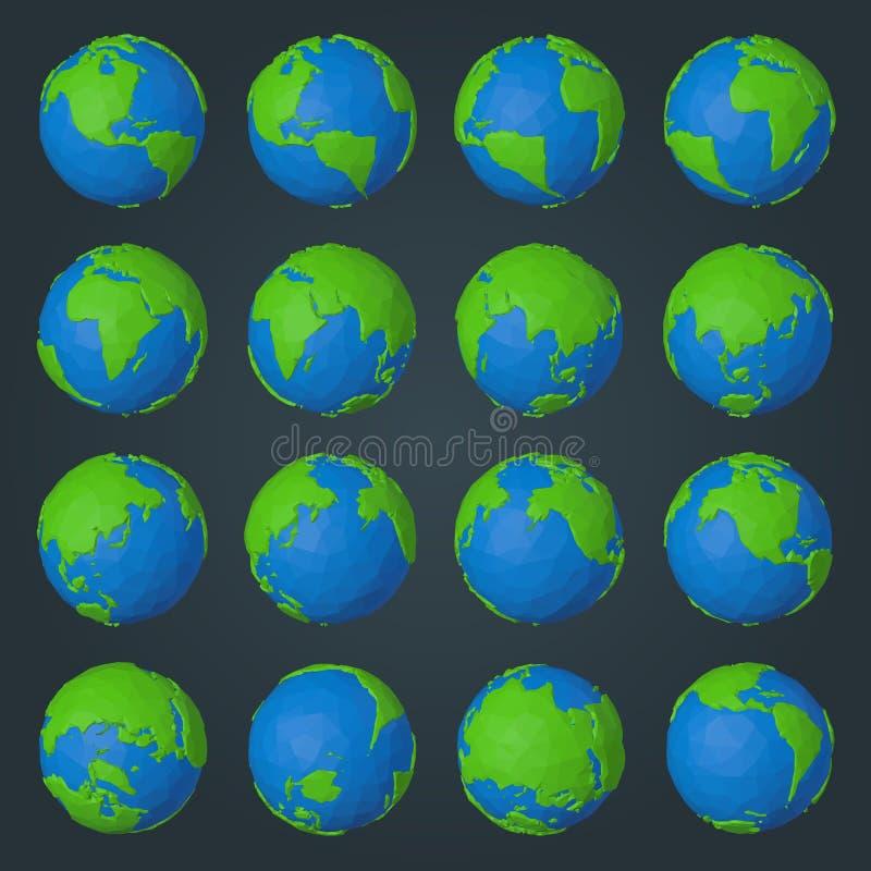 Kolekcja planety ziemi ikony w nowożytnym niskim poli- geometrycznym stylu ilustracja wektor