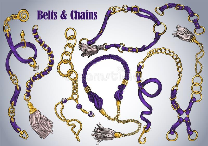 Kolekcja pociągany ręcznie paski i łańcuchy royalty ilustracja