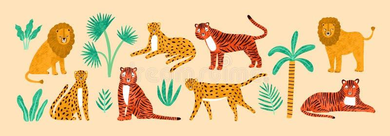 Kolekcja pocieszni lwy, tygrysy, lamparty, egzotów liście, tropikalne rośliny i drzewko palmowe odizolowywający na lekkim tle, ilustracja wektor