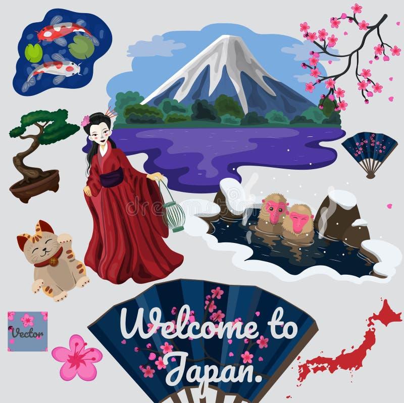 Kolekcja podróżujący tradycyjny japoński elementu wektoru wizerunek royalty ilustracja