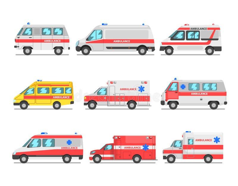 Kolekcja pogotowie ratunkowe samochody, przeciwawaryjnych medycznych samochodów dostawczych wektorowa ilustracja na białym tle ilustracja wektor