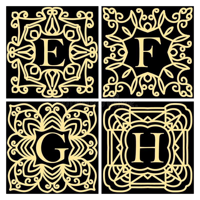 Kolekcja pojęcia dla luksusowych monogramów lub logów Emblemat lub rama Set projektów elementy dla listów E, F, G, H Złoty i ilustracji