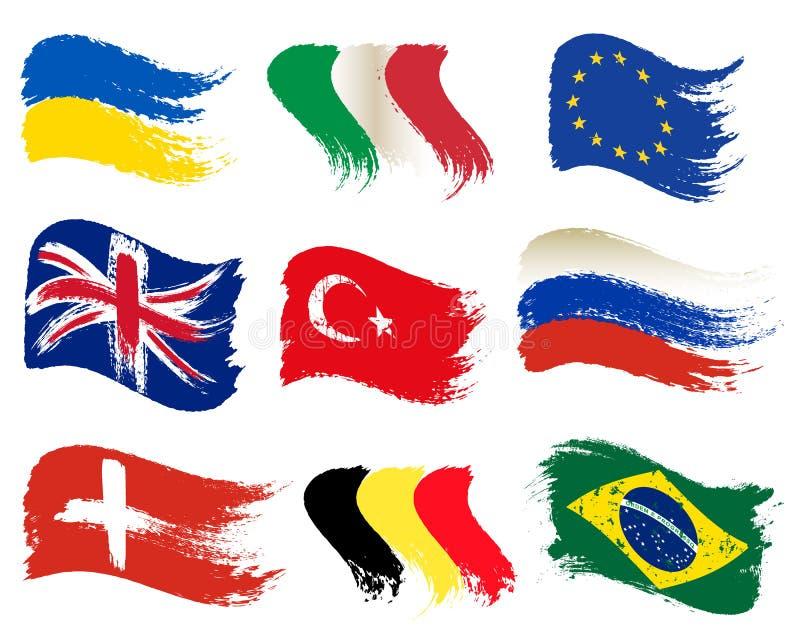 Kolekcja popularne świat flagi, muśnięcie uderzenie malować flagi, odizolowywać na białym tle, wektorowa ilustracja ilustracja wektor