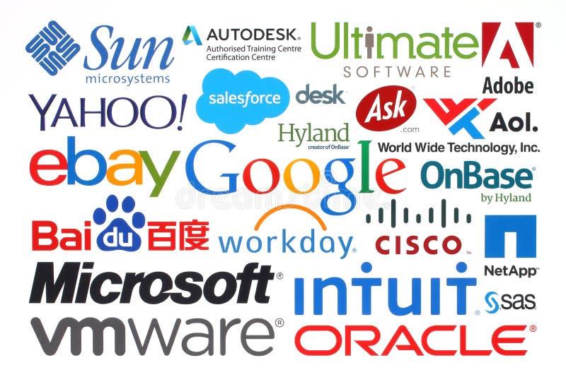 Kolekcja popularne internet firmy drukować na papierze