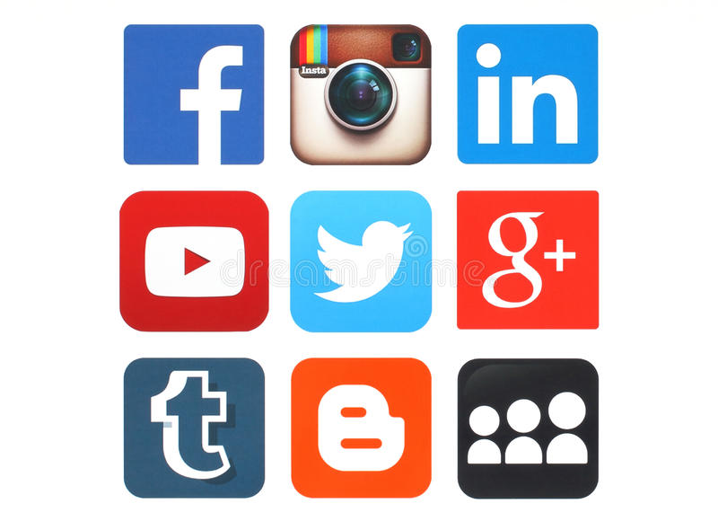 Kolekcja popularni ogólnospołeczni medialni logowie drukujący na papierze zdjęcie stock