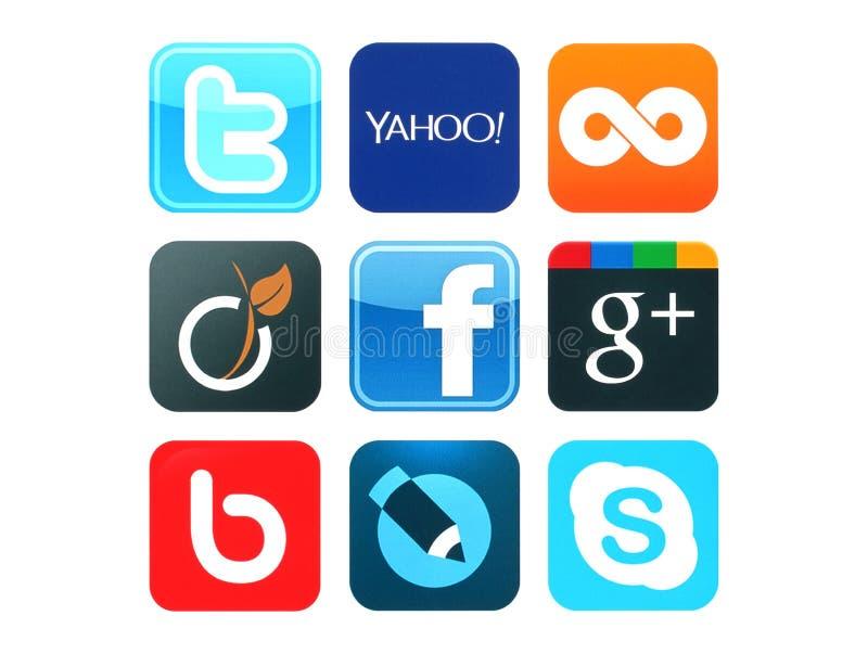 Kolekcja popularni ogólnospołeczni medialni logowie drukujący na papierze royalty ilustracja