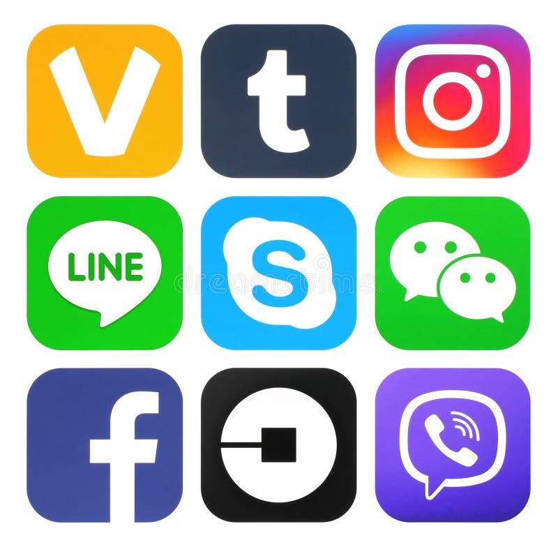 Kolekcja popularni ogólnospołeczni medialni nowi logowie