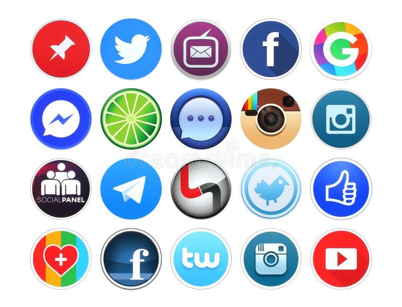 Kolekcja popularny round ogólnospołeczny networking, fotografii i wideo ikony royalty ilustracja