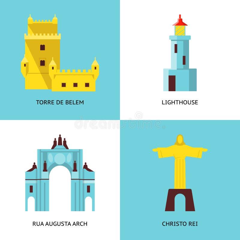 Kolekcja Portugalia ikony w mieszkanie stylu royalty ilustracja