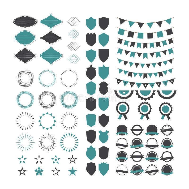 Kolekcja premia projekta elementy Set geometryczni kształty, ilustracja wektor