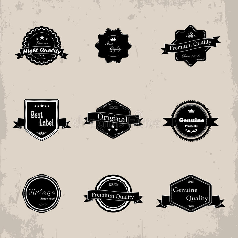 Kolekcja premii gwaranci i ilości etykietki z retro vi ilustracja wektor