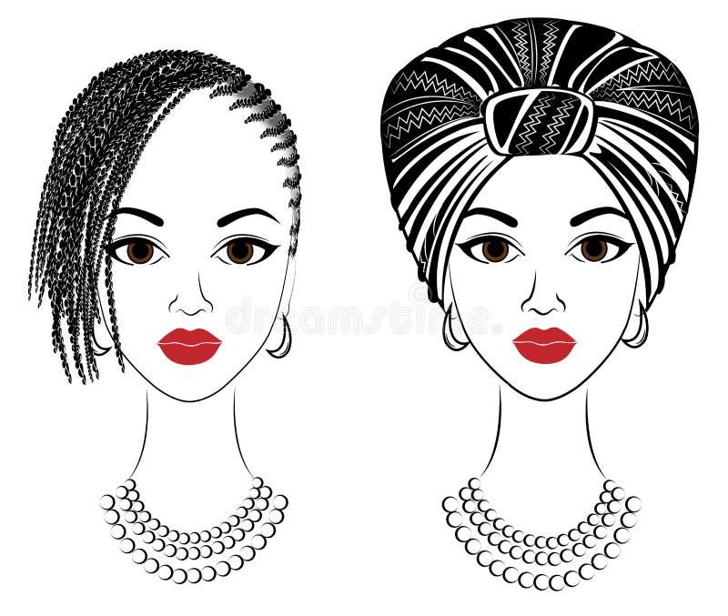 Kolekcja Profiluje g?ow? s?odka dama afroameryka?ska dziewczyna z pi?knym uczesaniem Dama jest ubranym turban, obywatel ilustracji