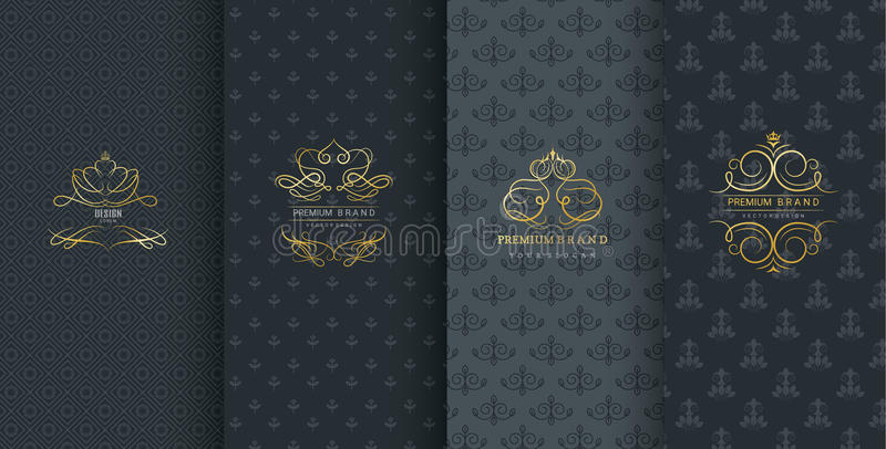 Kolekcja projektów elementy, etykietki, ikona, ramy, dla pakować, projekt luksusowi produkty na czarnym tle, wektor royalty ilustracja