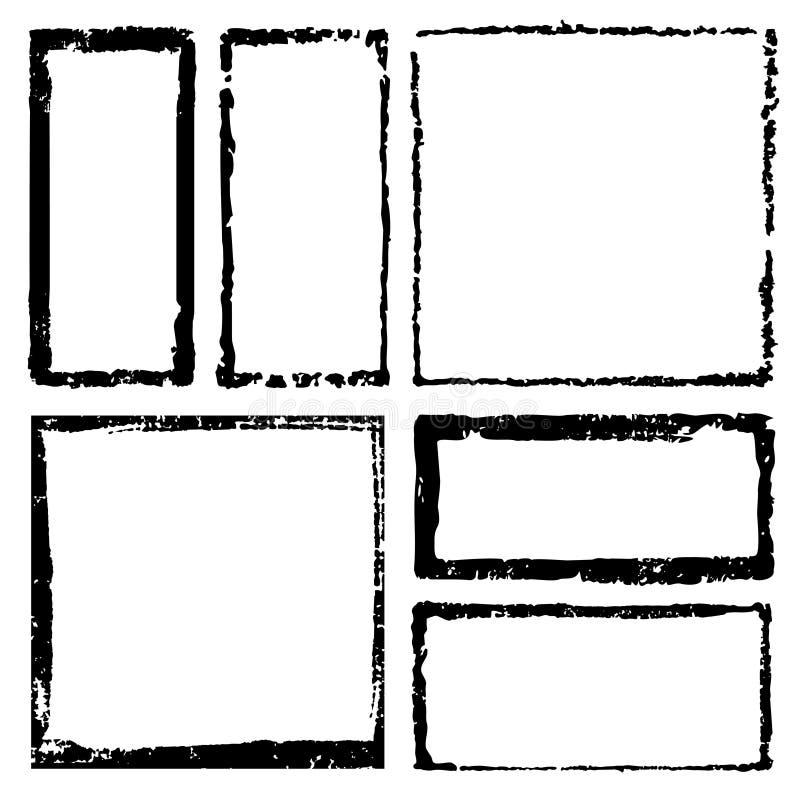 Kolekcja prostokątny atramentu grunge obramia, granicy ustawiać Ciosowa ręka rysujący pudełko dla teksta z poszarpanymi, uszkadza ilustracja wektor