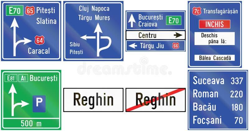 Kolekcja przewdoników drogowi znaki używać w Rumunia royalty ilustracja