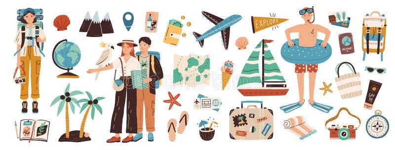 Kolekcja przygody turystyki, podróży, wakacje wycieczki, wycieczkować i backpacking dekoracyjni projektów elementy, za granicą, royalty ilustracja