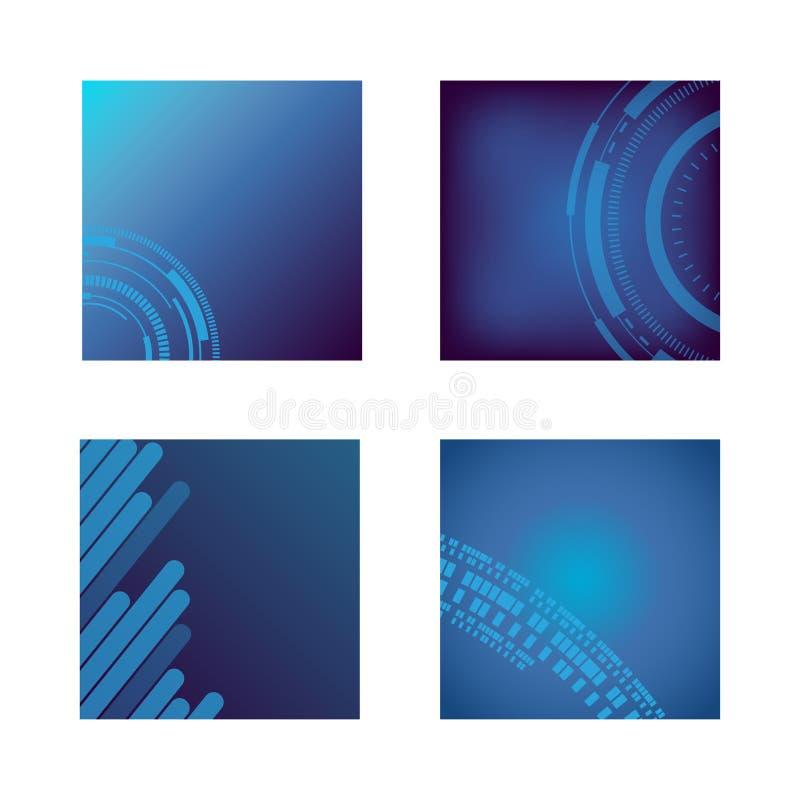 Kolekcja purpurowy błękitnej zieleni brzmienia tła sztandar dla ogólnospołecznego projekta royalty ilustracja