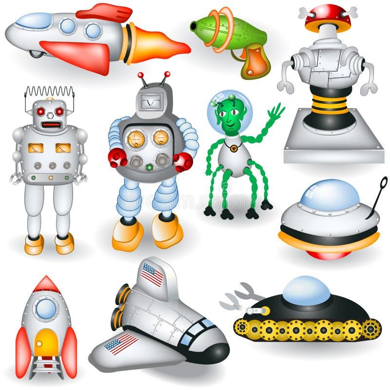 Retro przyszłościowe ikony ilustracji