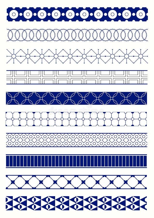 Kolekcja różne wektorowe geometryczne bezszwowe granicy ilustracja wektor